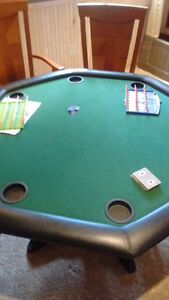 Poker table with solid wood base