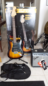 Fat Strat Squier by Fender Gig bag, Strap And Amp *New*