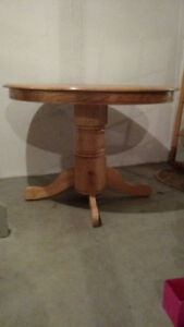 Hardwood table & two chairs