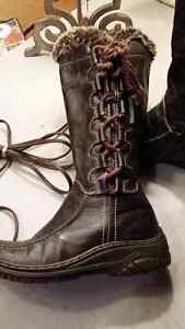 Dark brown real leather winter booths size 36 Cambridge Kitchener Area image 2