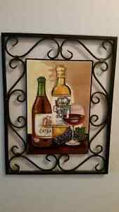 Stained glass wine and wrought iron art piece