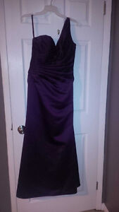 eggplant mori lee bridesmaid satin dress