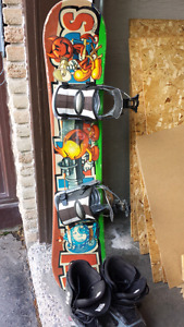 Burton snowboard with bindings and boots