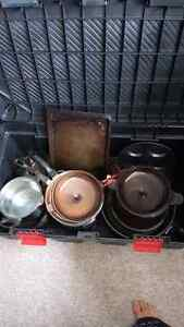 Tote of amber pots and pans