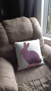 Large bunny sequined pillow