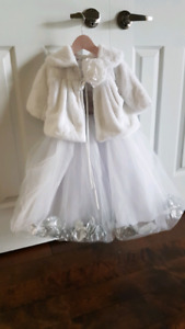 Flower girl dress with faux fur shawl 2T