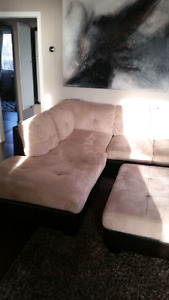 Microfiber sectional couch with pillows