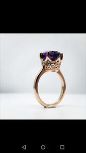 AMETHYST set in rose gold with diamonds cocktail ring.