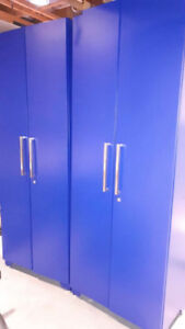 * 3 GARAGE CABINETS, NEW AND BLUE
