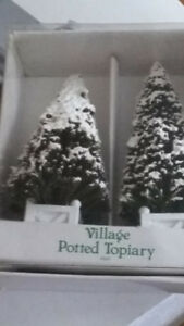 Dept 56 village potted topiary, snow