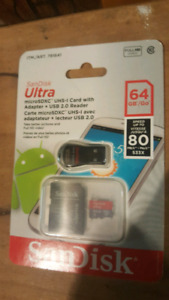 64 GIG sd card plus ADAPTER and usb reader