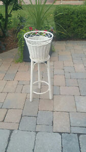 Add  Flowers to the White Wicker standing planter !