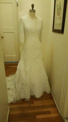 Vintage Modest off white lace wedding dress