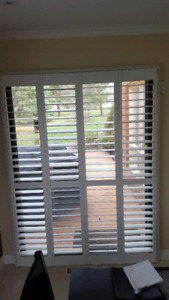 White Shadeomatic shutters for 5 ft patio sliding door