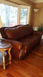 Barely used dark brown leather couch