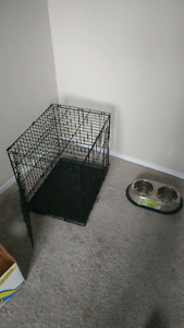 Dog crate and bowl, OBO