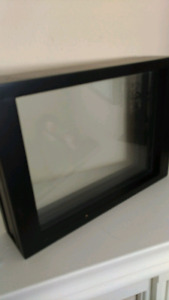 Framed casing with glass