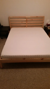 Ikea queen size memory foam mattress and frame