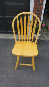 4 Natural Solid Wood High Back Chairs (swivel)