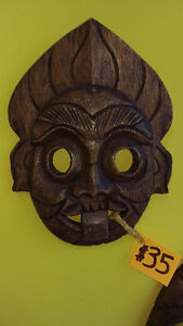 Evil Face with Spiked Hair and Tongue Out, Wall Hanging Mask