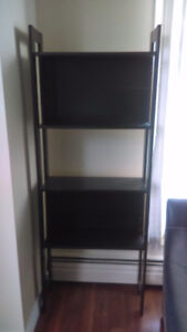 Two dark brown bookcases