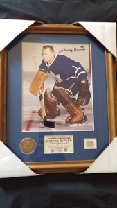 Johnny Bower HM Collection Autographed + Game Used Stick+