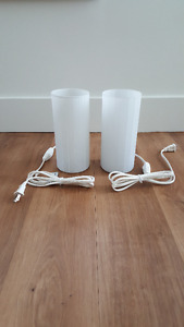 Set of Two Glass Cylinder Lamps