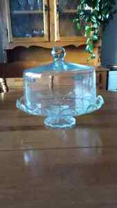 Crystal Cake Plate with Lid Kitchener / Waterloo Kitchener Area image 1