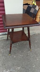 ONE OF A KIND GLASS CLAW BALL ANTIQUE FEET SIDE TABLE