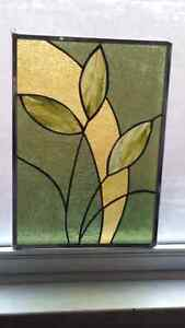 Stained glass green and gold