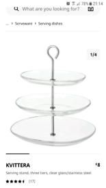 Glass 3 tier cake food stand