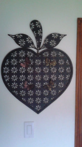 Metal apple picture and butterfly art and wine bottle picture