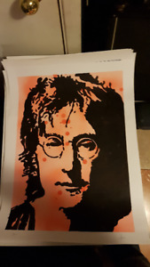 John Lennon Beatles Original Art on 18x24 Paper by LeBach