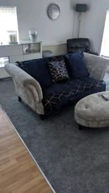 Italian suede sofa an foot stool