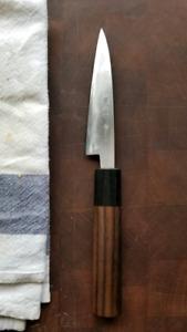 Kajiwara Damascus petty 120mm Japanese Carbon Steel Pairin knife