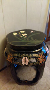Antique Chinese Republic Black Wood Lacquer Stool Pedestal Hand