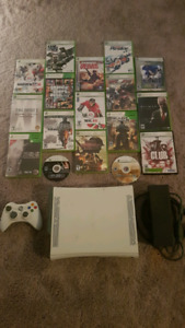 Xbox 360 console with 17 games