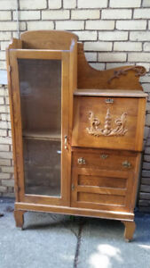Antique 1900s Drop-front Oak Secretary Desk and Bookcase