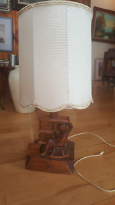 Beautiful Quebec Folk Art hand-carved lamp