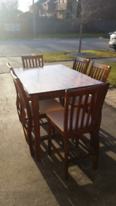 Bar height kitchen table & 6 chairs