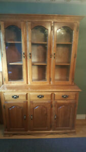 Maple Buffet Hutch and Cherrywood Table and six matching chairs