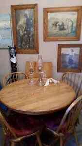Solid Oak Table, Leaf, and Four Chairs