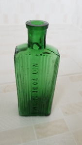 Green Poison and Gin Bottles
