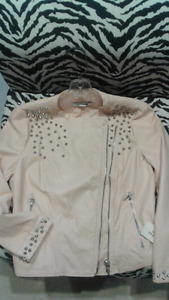 Light pink faux leather jacket size M