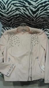 Light rose faux suede jacket size M