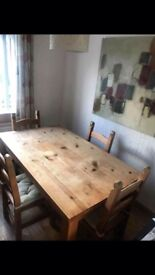 Solid oak wood table and 4 chairs
