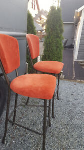 Red Suede Barstool Chairs
