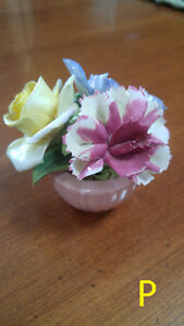 Staffordshire Floral Bone China Flowers in a Pink Basket