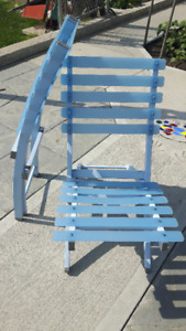 Two folding deck chairs ~ baby blue