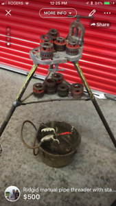 Ridgid manual pipe threader with stand and oil gun